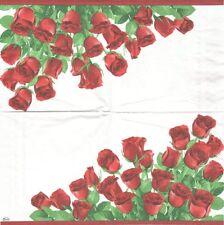 2 Serviettes en papier Fleurs Roses Rouges Decoupage Paper Napkins Flowers