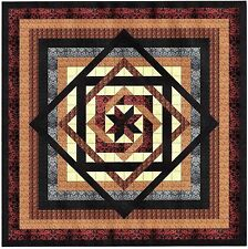 Easy Quilt Kit/Tumbling Star/Black,Brown,Cream/Queen/ Fabrics Ready To Sew***