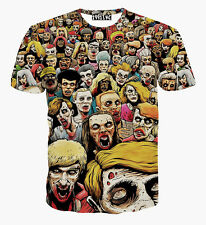 2016 New 3D Print Zombie Parade Funny T Shirts Tee Short Sleeve Tee Round Top L
