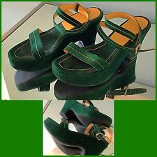 Vintage 80s PRADA Shoes Suede Wedge Platform Sandals Shoes