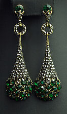 beautiful art nouveau vintage style earrings with austrian crystal emerald green