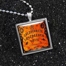 Ouija Spirit Board Vintage Horror Occult Halloween Glass Silver Pendant Necklace