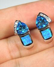 Hot!! Blue Topaz Blue Fire Opal Inlay 925 Sterling Silver Stud Post Earrings