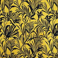 """Cotton Cambric Fabric Leaf Print Mustard Width 41"""" Sew Curtain By The Metre"""