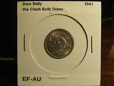 CANADA 5 CENTS 1941 Bare Belly and Die Clash Boths Sides!!! EF-AU...