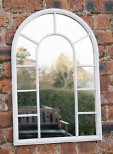 LARGE Antiqued Distressed White Vintage Wrought Iron Arched GARDEN Mirror NEW