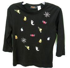 Halloween Top Shirt Womens Sz Small Ghost Cat Pumpkins 3/4 Sleeve onque casuals
