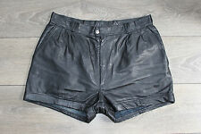 "Vintage Black Leather EPISODE High Waist Biker Hot Pants Shorts Size W31"" L2"""