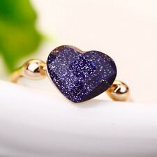 18K Gold Plated GP Vintage Blue Galaxy Heart Ring Size 8  Lovely gift for her