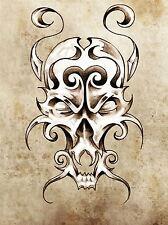 Art Imprimé Poster dessin peinture tatouage crâne monstre Sketch Grunge lfmp0687