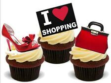 Novelty I LOVE SHOPPING Red Shoes Handbag 12 STAND UP Cake Toppers birthday
