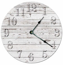 RUSTIC WHITE BEACH BOARD CLOCK Large 10.5 inch Wall Clock PRINTED WOOD - 2021
