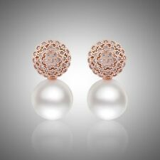 Ocassion Jewelry! 18K Gold filled Sapphire dashing pearl stud earrings!