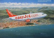 EASY JET EASYJET BOEING 737 AIRLINER ART PRINT