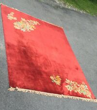 Vintage 1930's Nichols Chinese Art Deco Rug With Floral Corners. Wool. 9 X 12.