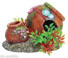 Rustic Pots Jugs Cave with Plants Aquarium Fish Tank Ornament