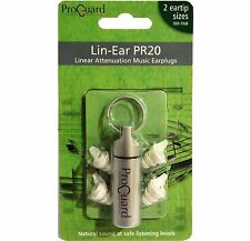 Proguard Lin-Ear PR20 linear attenuation music earplugs - musicians ear plugs