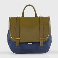 Paul Smith Blue Suede & Verde Pelle Vitello FESTIVAL BAG / Satchel RETAIL £ 750 NUOVO CON ETICHETTA