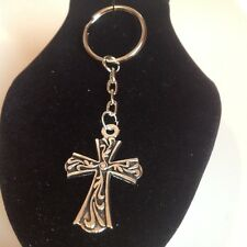 Cross key ring silver plated.