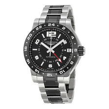 Longines Admiral GMT Black Dial Steel and Ceramic Mens Watch L3.669.4.56.7