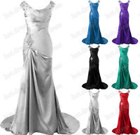 STOCK 2016 New Long Satin Formal Prom Party Ball Gown Bridesmaid Evening Dresses