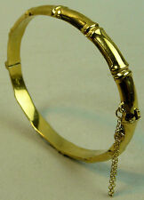 VINTAGE ROLLED GOLD BAMBOO FORM HINGED BANGLE 1960's - 10 GRAMS