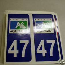 10 STICKERS AUTOCOLLANT PLAQUE D IMMATRICULATION  du Lot-et-Garonne 47