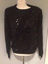 80's Vintage Nilani Black Silk & Angora Rabbit  Sequined Sweater Size Large