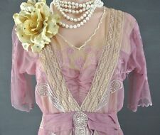 Vintage Style dresses Nataya Gatsby Cocktail Dress Pink/Beige Lace S Victorian