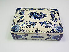 Antique Delft Holland Blue Handpainted Floral Trinket or Dresser Box