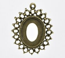 PACK OF 2 ANTIQUED BRONZE PLATED PENDANTS - CABOCHON SETTING -  48mm.....P1144 *