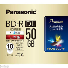10 Bluray Panasonic BD-R DL 4X Rohlinge 50GB Full Printable Region Free Blu Ray