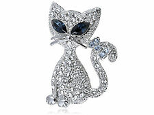 Crystal Elements Cat Eye Siamese Kitty Cat Bow Tail Fashion Brooch ZJ6