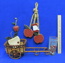 Country Apple Decor Apple Cart Woven Basket Candle Wall Hanging Ornament 5 Lot