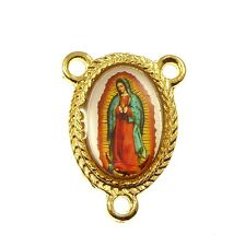 Catholic Virgin Mary Our Lady of Guadalupe center metal rosary part gold