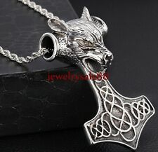 Men's Stainless Steel Big Thor's Hammer Wolf Pendant jewelry Free China Necklace