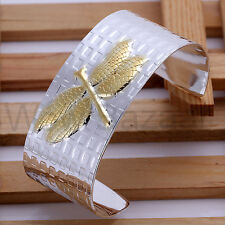100% 925 Sterling Silver Cuff Bracelet with Golden Dragonfly Bangle Women