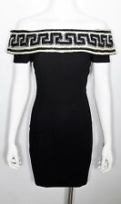 AJ BARI Sz 6 Black & White Sequin Greek Key Off-The-Shoulder LBD Cocktail Dress