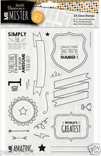Docrafts Papermania clear rubber stamps Mr Mister Text Fathers day Birthday men