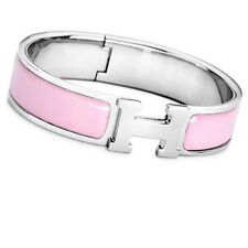 New Women's Fashion Luxury Silver & Pink Enamel Bangle Click Clac Bracelet