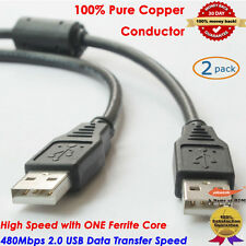 Black 3FT Foot USB 2.0 High Speed Male A To Male A Cable with Ferrite Core, 2pcs