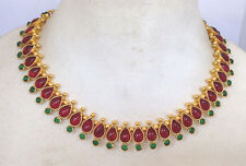 South Indian temple jewelry gold tone stone R/G mango necklace mango earring1
