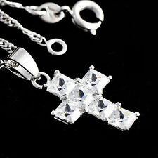Womens White Gold Filled Silver Jewelry Crystal Cross Pendatnt Necklace Set