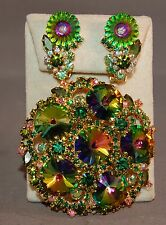 Decadent Iridescent Rivoli/Rhinestone Juliana DeLizza & Elster Brooch/Earrings!
