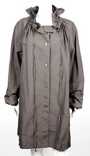 LANVIN Taupe Cotton Poly Blend Techno Ruffle Collar Coat 40