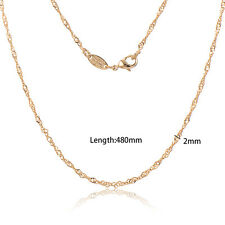 Womens 14K Yellow Gold Filled Twisted Rope Wave Chain long necklace
