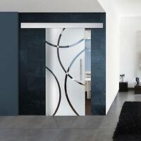 """Glasschiebetür Klarglas Dekor """"Kurven"""" Modell: 139-1-F-ALU60"""