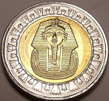 Gem Unc Bi-Metal Egypt 2010 1 Pound~King Tutankhamun~Read The History~Free Ship