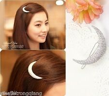 New Korean Style Women Crystal Moon Hair Clips Barrette Hairpins