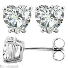 Pair Solid .925 Sterling Silver Heart Crystal Ear Stud Studs Earrings - 6mm